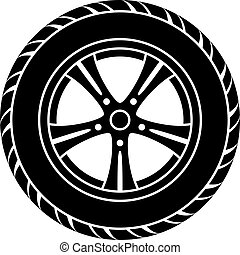 vector, coche, rueda, negro, blanco, símbolo