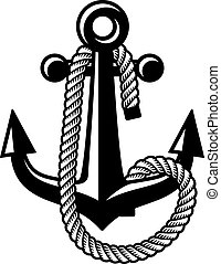 vector anchor with rope black symbol