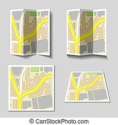 vector city navigation map icons
