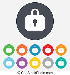 Lock sign icon. Locker symbol. Round colourful 11 buttons.