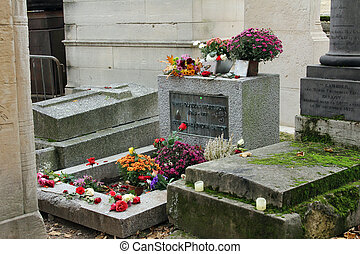 Jim Morrison grave in P?re Lachaise cemetery, Paris