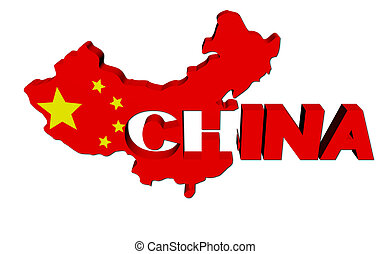 China map flag with overlapping text illustration