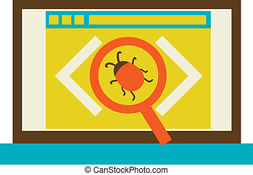process of fixing bugs flat Vector illustration eps 10