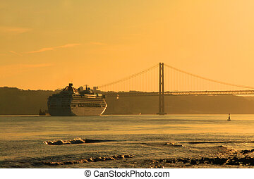 Sunset on river Tejo Lisbon, Portugal