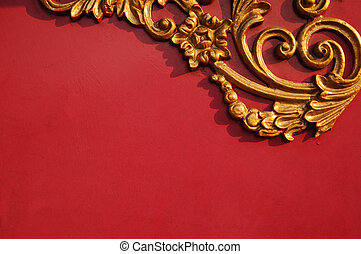 Floral pattern on red background with copy space