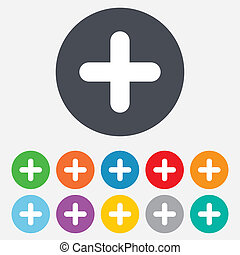 Plus sign icon. Positive symbol. Zoom in. Round colourful 11...