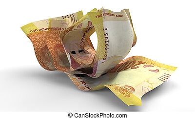 Scrunched Up South African Rand Notes - A group of three...