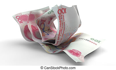 Scrunched Up Chinese Yuan Notes - A group of three scrunched...