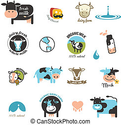 Milk Labels, elements and icons - Milk and cow Labels,...