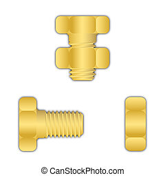 Yellow metal screw with nut
