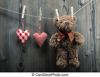 Valentine's Day wallpaper - Teddy Bear hanging with textile...