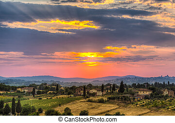Sunset - a majestic sunset in a rural zone of tuscany with...