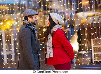 Winter couple - Young pregnant couple portrait in winter...