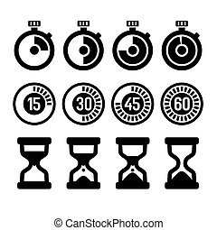 Timers icons set -  isolated timers and clocks icons set