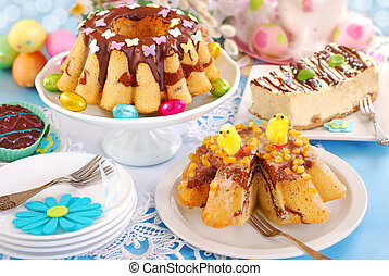 easter confectionery assortment with marble ring cakes and...