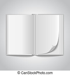 open blank book spread on white background.