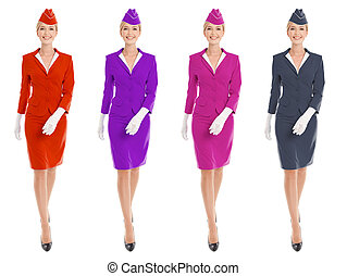 Charming Stewardess Dressed In Uniform With Color Variants....