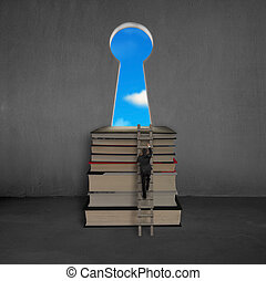 Businessman approaching books top with key shape door, blue...