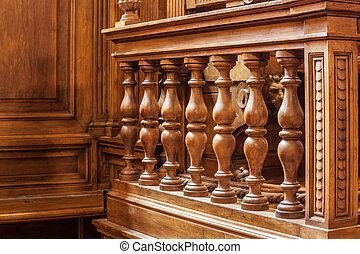 Wooden banister - a luxurious wooden banister in a courtroom...