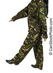 Military step - Army soldier walking in military step...