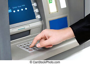 homem, entra, alfinete, código, withdraws, Dinheiro,...