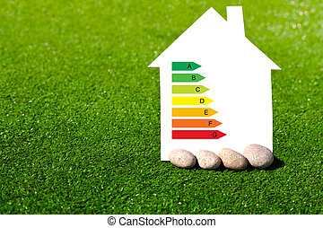 house with the sign of energy saving on a background of grass