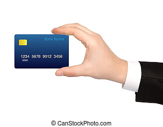 isolated hand of a businessman holding a credit card