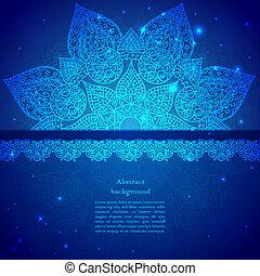 Blue Vintage Indian Ornament