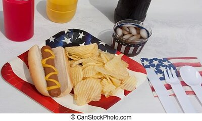 Holiday Picnic - Holiday picnic with a hotdog and chips
