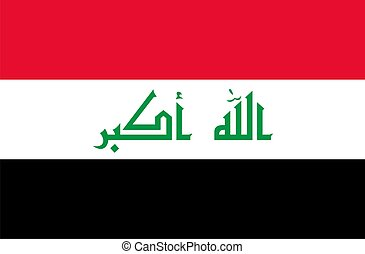 Iraq flag - Iraq national flag Illustration on white...