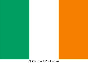 Ireland flag - Ireland national flag Illustration on white...