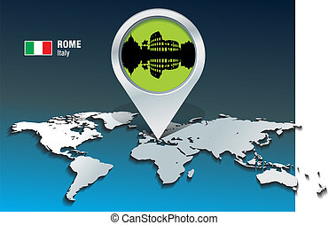 Map pin with Rome skyline