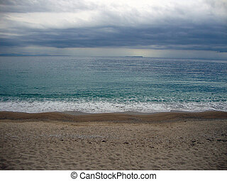 Spilia beach on a cloudy day - Spilia beach, Ionian sea,...