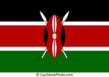 Flag of Kenya - Flag of Kenya. Illustration over white...