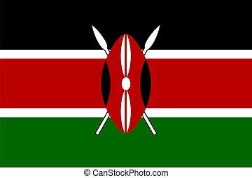 Flag of Kenya - Flag of Kenya. Illustration over white...