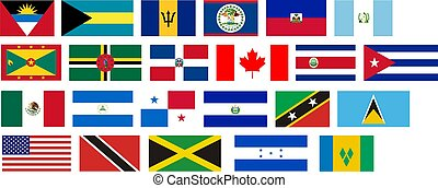 Flags of all North America countries Illustration over white...