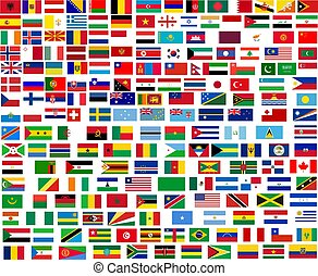 Flags of all world countries Illustration over white...