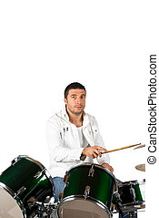 Drummer man - Serious drummer man playing set drums isolated...