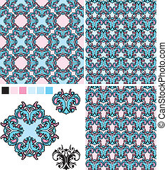 set of seamless patterns - floral ornaments and elements