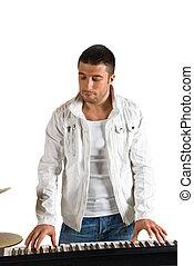 homem, tocando, eletrônico, órgão