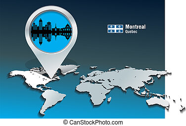 Map pin with Montreal skyline - vector illustration