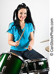 Beautiful drummer woman - Beauty drummer with pigtails...