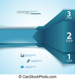 One, two, three info-graphics ribbons. Vector illustration...