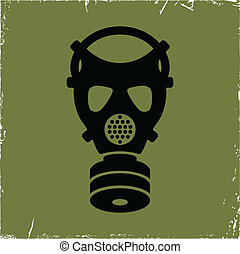 Gas mask on old background with effect of scratches Concept...
