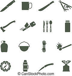 Set of vector icons with camping equipment and accessories....