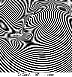Black and White Opt Art Background - Spiral Optical Illusion...