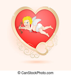 Golden heart with cupid isolated
