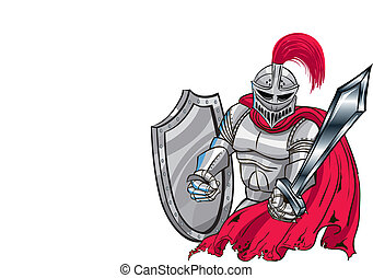 Battle Knight - Red, silver Midievil Knight Shield and...