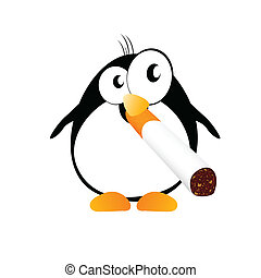 penguin with cigarette color vector