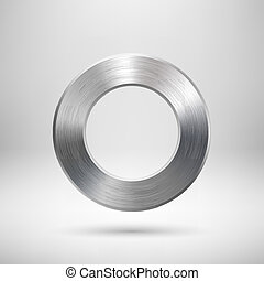 Abstract Circle Button with Metal Texture - Abstract...